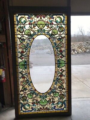 Large Jeweled Antique Stainglass Landing Window 47 1/2 X 87 1/2