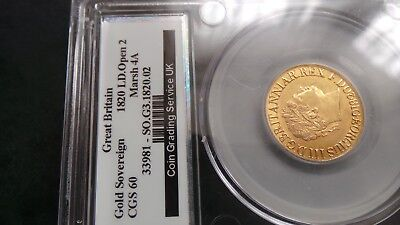 GEORGE 111 1820 22ct Gold Sovereign , Large date open 2, CGS 60