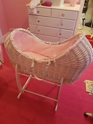 Moses basket and stand ,white wicker pink Cair de Lune