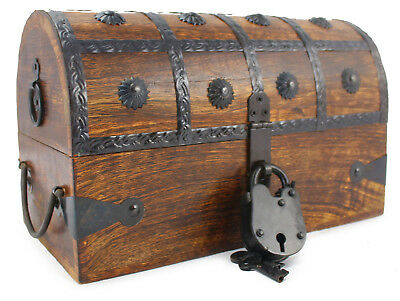 Wooden Pirate Treasure Chest Nautical Box With Antique Cove Style Lock And Key