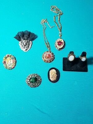 LOT of vintage Germany signed jewelry necklaces brooches rings
