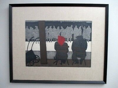 Kiyoshi Saito Wood Block Print Bookstore Seine Paris Wood Frame Linen Mat Estate