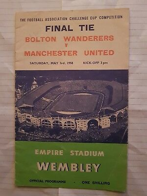 Bolton vs man utd 1958 fa cup final programme
