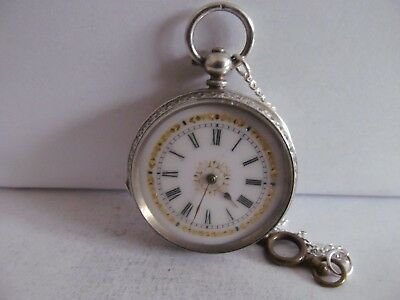 1890/1907 fob pocket watch solid silver fantastic condition and working + key