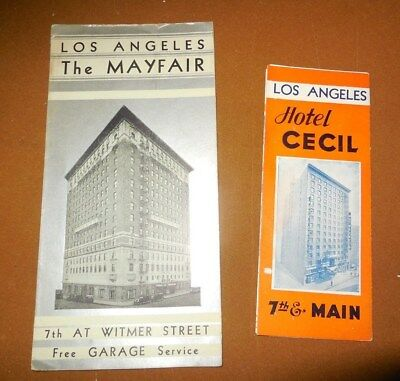 Two Los Angeles Hotel Advertising Brochures/hotel Cecil & The Mayfair / 1930-40