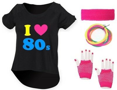 I LOVE THE 80s Ladies Drop Top & Accessories Fancy Dress Costume Outfit Neon 80s