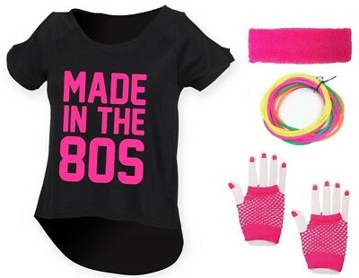 MADE IN THE 80s Ladies Drop Top & Accessories Fancy Dress Costume Outfit Neon