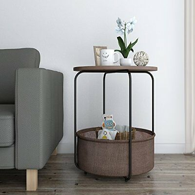 best sneakers 503f6 161b9 2 TIER ROUND Side Table End Nightstand with Storage Basket Espresso