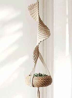"""NEW Macrame Hanging Planter Home Décor Cotton Rope Handwoven37""""L FREE SHIPPING"""
