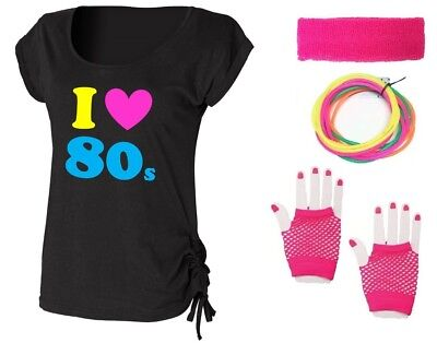 I LOVE THE 80s Ladies Top & Accessories Fancy Dress Costume Outfit Neon 80's