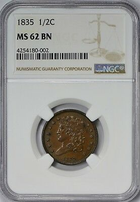 1835 Classic Head Half Cent NGC MS62 Brown - Lovely Mahogany Brown