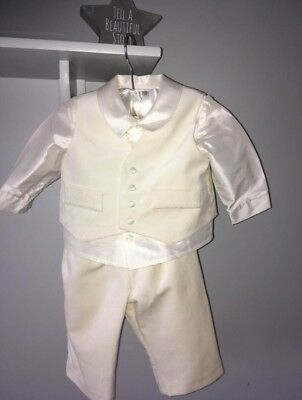 Baby Boy Ivory 3 piece Christening Outfit by 'Little Darlings' with shoes too.