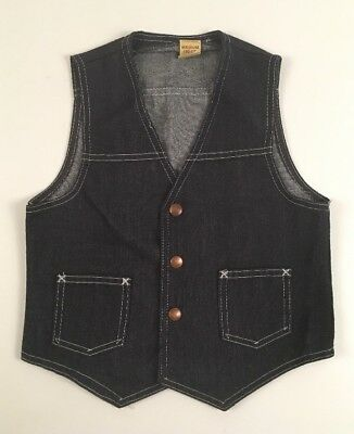 Vintage Sears Perma Prest boys SZ 10-12 Denim western Vest Rockabilly BLUE 70S
