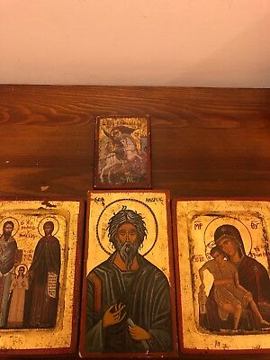 greek icons rare gold paint lot of 5