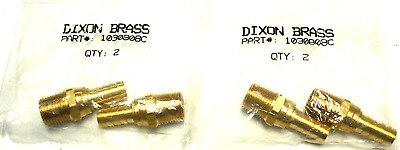 "New Sealed Lot Of 2 Dixon Brass 1030808C 1/2"" Hose Id X 1/2"" Male Nptf Swiv Qty4"