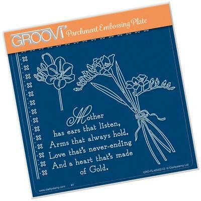 CLARITY STAMP GROOVI Parchment Embossing Plate FREESIAS & MOTHER VERSE 40902