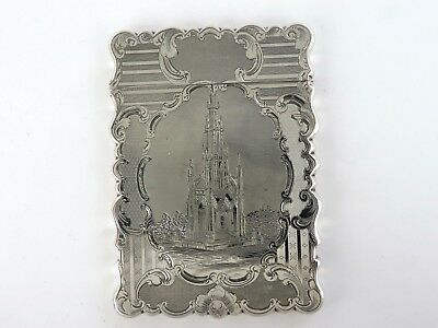 Victorian SILVER SCOTT MEMORIAL CARD CASE, Birmingham 1847 FM Castle top box