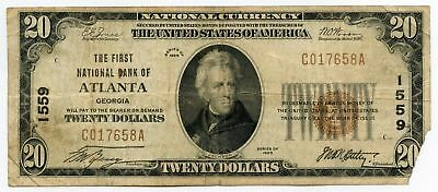 1929 $20 National Currency Note - 1559 First Bank of Atlanta Georgia - AQ629