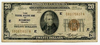 1929 $20 National Currency Note - Federal Reserve Bank of Richmond - AQ630