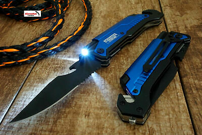 "8.5"" Blue Spring Assisted open Tactical Pocket Knife MULTI-FUNCTION 6 in 1 TOOL"