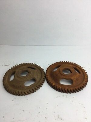2 Industrial Rusty  Machine Steampunk Pulley Gear Cog Lamp Base Wheel