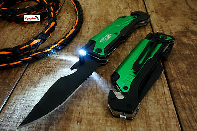"8.5"" Green Spring Assisted open Tactical Pocket Knife MULTI-FUNCTION 6 in 1 TOOL"