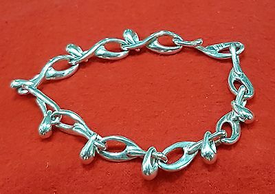 Sterling Silver Large Link And Drop Bracelet Marked Rod