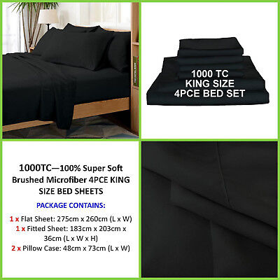 LUXURY 1000TC Thread Count SUPER SOFT 4PCE Sheet Set, King Size-BLACK, Brand New