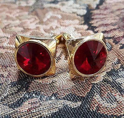 Vintage Cuff Links With Large Glass Ruby Accents Gold Tone