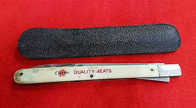Vintage Pocket Knife Culrose Quality Meats Gold Dish Quality Meats