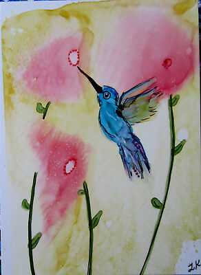 Aceo original blue shimmery hummingbird flowers painting art by L Kohler