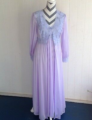 Vintage Shadowline Orchid Lavender Peignoir Gown and Matching Robe Sexy Size M