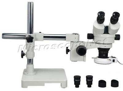 3.5X-90X Single-Arm Boom Stand Zoom Stereo Microscope+54 LED Ring Light New