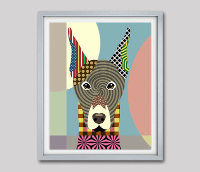 Print Art Dog Doberman Pinscher Puppy Vintage Original Giclée Modern Painting