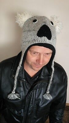 c17d6b69b8484d Winter knit Koala Bear hats handmade of wool, NEW, large enough for adults.