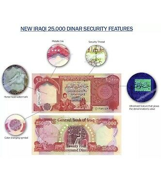 Iraqi Dinar Iqd Two 25,000 (50,000 Net) Uncirculated Bank Notes Brand New