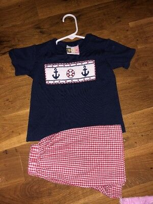 Boutique Banana Split Sailboat Sailor Anchor Smocked Short Set Sz 24 Months 24M