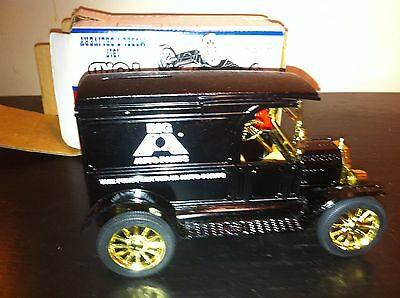 vtg Die Cast Metal Bank  Model  T 1917  Big A auto Parts  Advertisement in box
