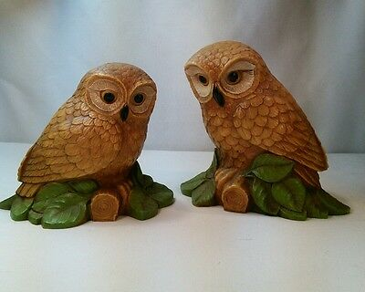 Vtg 2pc Pair Homco 70's Retro Screech? Owls Hard Plastic SCARES SNAKES! Figurine