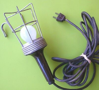 Vintage Industrial Hanging Metal Cage Trouble Lamp Light Untested As 2 Pin Plug