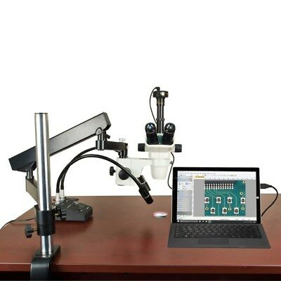 6.7-45X Stereo Microscope+Articulating Arm Boom Stand+6W LED Light+9M USB Camera