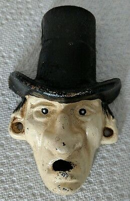 English Man in Top Hat Cast Iron Wall Mount Bottle Opener Antique Style Replica