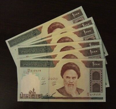 5X 1000 Series Iranian Iran Rial Khomeini Collectible Uncirculated Persian Money