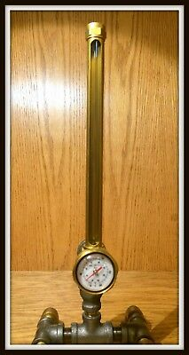 Vintage brass / glass oil level site glass and temperature gauge