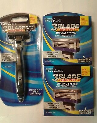 10 Replacment Blades Plus 1 Handle With Razor Cartridge Fits Gillette Mach 3