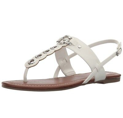 Casual Size Sandals White Slip Comfort Shoe Flat Guess On Us Women fY76vbgy
