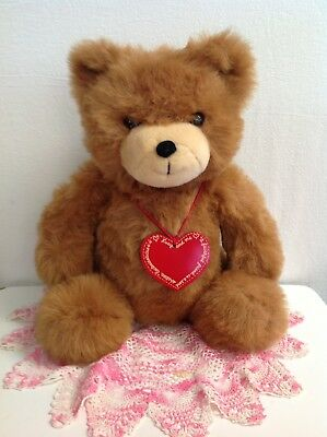 "Lucy And Me Plush # 1 Bear ""not In Book"" Gold Writing On Heart Lucy Rigg Enesco"