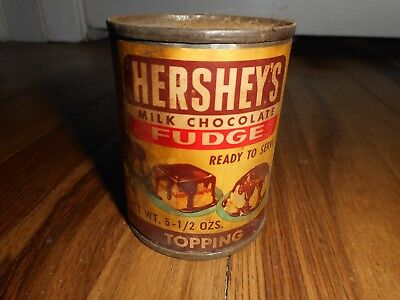 Vintage Hershey's Milk Chocolate Fudge Topping Can Ice Cream Candy Tin Food