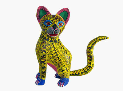 Cheerful Cat Alebrije, Oaxacan wood carving figure, signed by artist. Mexico