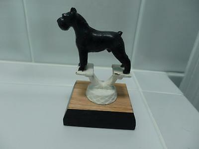 Vintage gorgeous Black Schnauzer Metal Dog Figurine Trophy Collectible